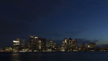 4K Time lapse zoom in Boston skyline at twilight