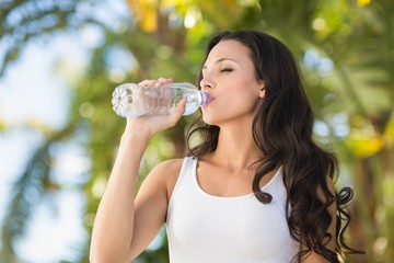 Pretty brunette drinking bottle of water