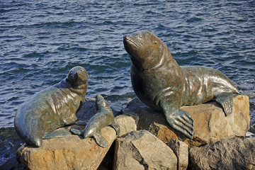 Bronze statues located in the port of Hobart