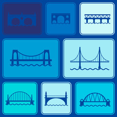 Seamless background with different bridges