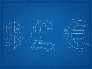 Us Dollar, British Pound, Euro Symbols - Blueprint