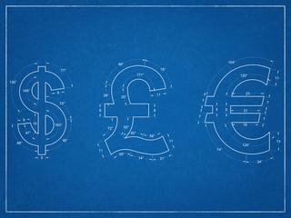 Us Dollar, British Pound, Euro Symbols - Blueprint