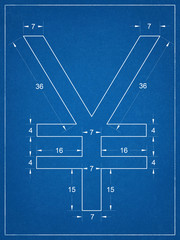 Japanese yen symbol blueprint