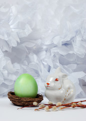 Vintage still life with easter eggs and easter bunny