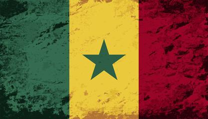 Senegalese flag. Grunge background. Vector illustration
