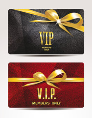 VIP cards with gold ribbons