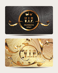 Gold VIP cards with floral design elements