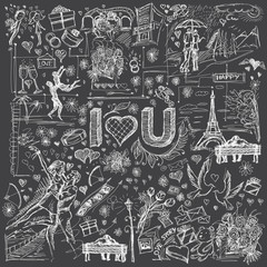 Vector background I love you 08