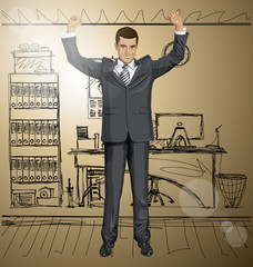 Vector Businessman With Hands Up 06