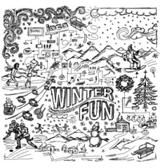 Vector sketch background with winter fun