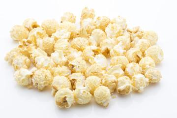 Popcorn isolated on the white background.