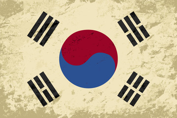 South Korea flag. Grunge background. Vector illustration