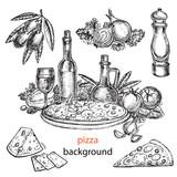 hand drawn pizza background