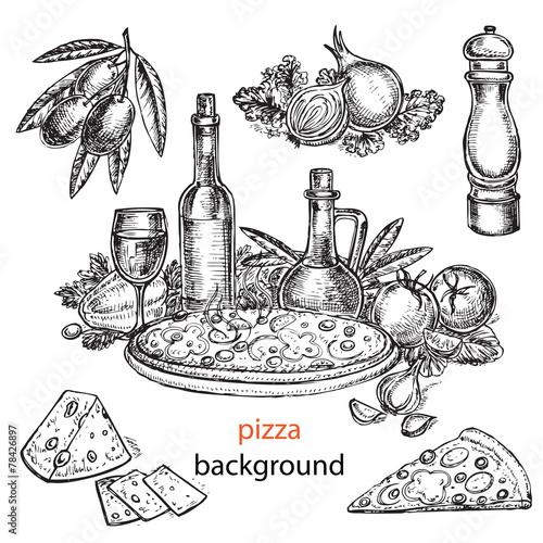 Fotobehang Restaurant hand drawn pizza background