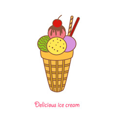 Vector ice cream in a cone with a cherry