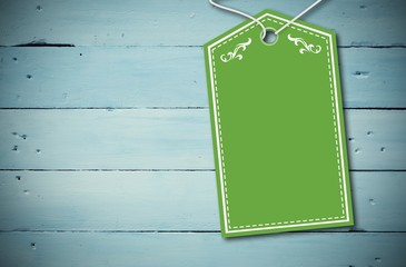 Composite image of elegant green tag