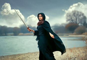 The beautiful gothic girl with sword