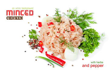 Minced chicken meat on a white background