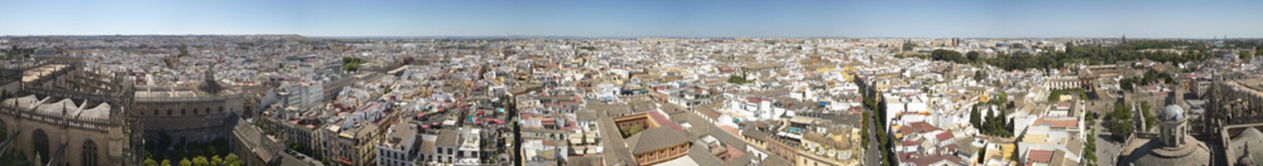 Panoramic view of Seville city from La Giralda tower. Spain
