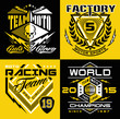 Motocross sport shield emblem set - 78428686