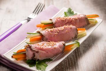 roast beef rolled up vegetable stuffed, selective focus