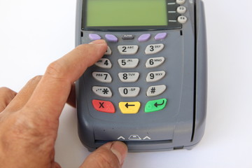 Paying credit card on White Background.