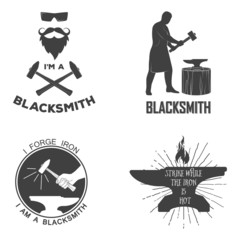 Vintage blacksmith badges and design elements for t-shirt print.