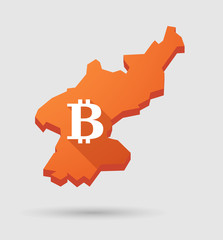 North  Korea map with a bitcoin sign