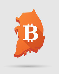 Korea map with a bitcoin sign