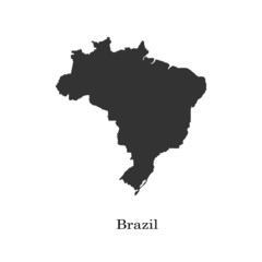 Black map of Brazil for your design