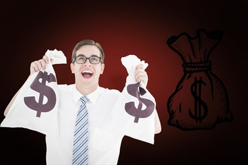 Composite image of geeky happy businessman holding bags of money