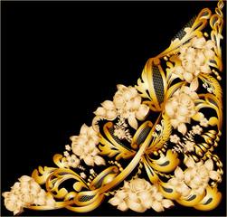 gold floral triangular design on black