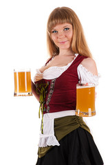 Oktoberfest waitress with a beer in hand isolated