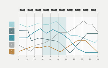 Flat chart. Lined graph. Simply color editable.