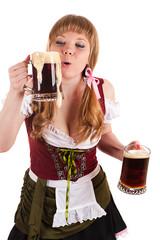 Oktoberfest girl blows with beer foam
