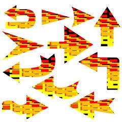 arrows with multicolor briks