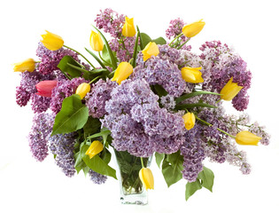Rich bouquet with lilac and tulips isolated on white