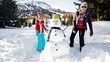 Winter fun, snowman and family in a snowball battle