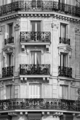 Traditional Facade in Paris. Black & White