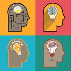 Concept of idea. Bulb in a mans head