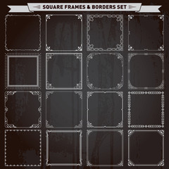 Decorative square frames and borders set vector