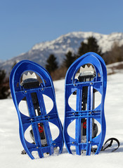 blue snowshoes in the mountain