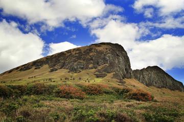 Moai at Rano Ranaku Volcano Quarry