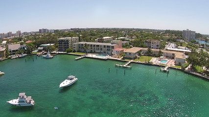 Aerial view of marina and boats in Florida