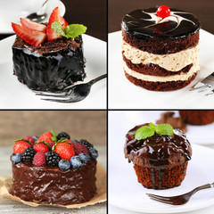 Collage of chocolate desserts