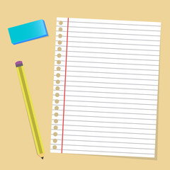 Paper note pencil rubber office material