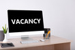 canvas print picture - Office workplace with vacancy sign