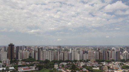 4K time lape zoom out aerial view Curitiba Skyline