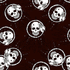 Indian seamless pattern which depicts a skull dream catcher