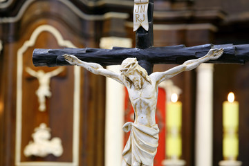 Figure of Jesus crucified, in the church during Easter
